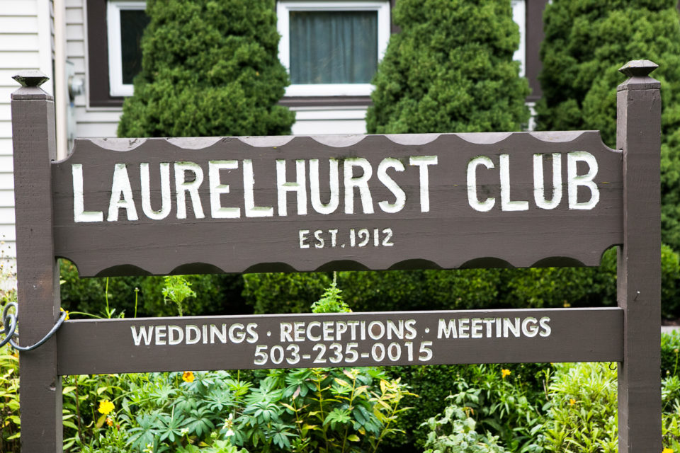 Photo of Laurelhurst Club wedding venue sign, Portland, OR