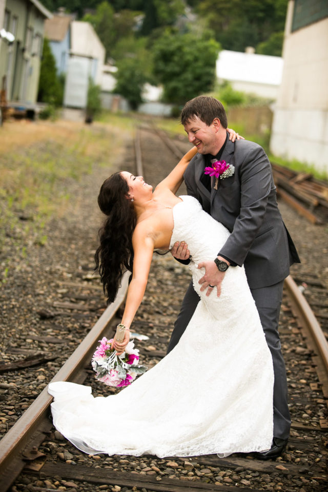 Jessica and Justin wedding photo by the train tracks
