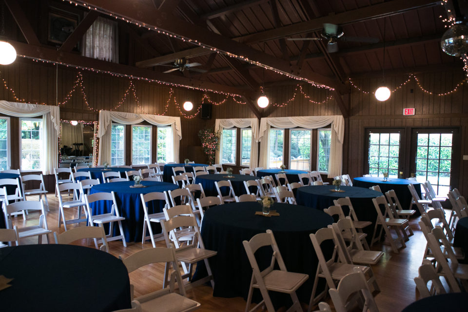 Wedding ceremony setup for the marriage of Daniel and Rose at the Laurelhurst Club