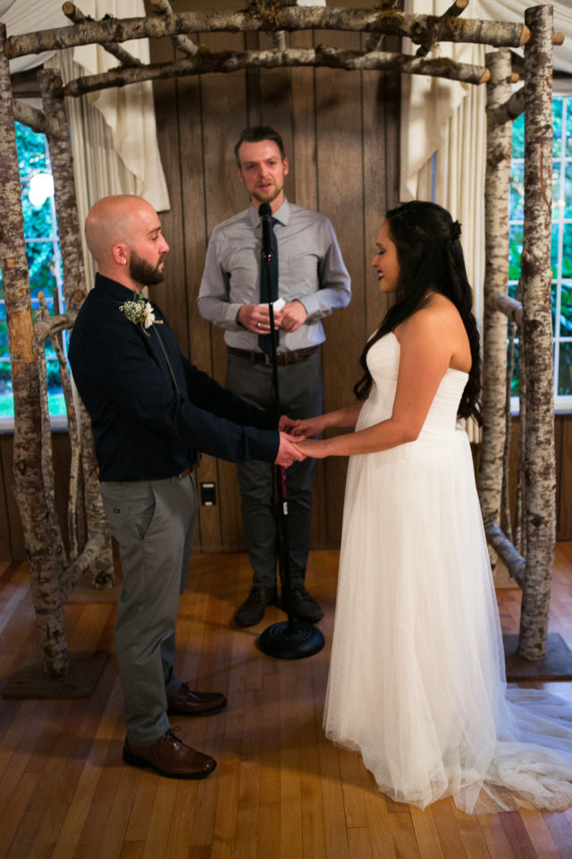 Daniel and Rose at their wedding ceremony at the Laurelhurst Club