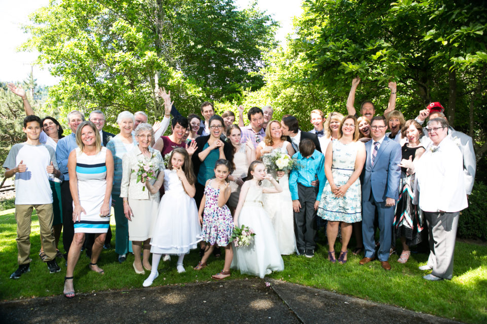 The family of Kathryn and James on their wedding day